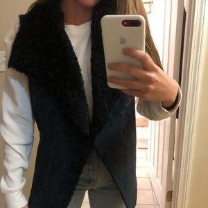 Navy blue fleece lined/ suede vest